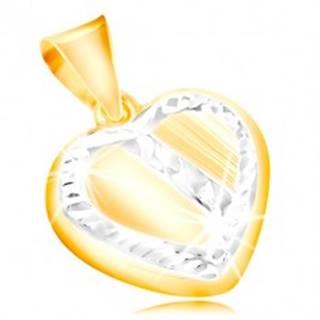 Zlatý prívesok 14K - srdce s lemom a šikmým pásom z bieleho zlata, zárezy