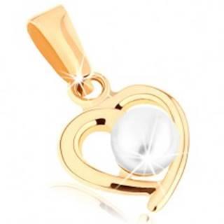 Zlatý prívesok 375 - kontúra nesúmerného srdiečka, guľatá perla bielej farby