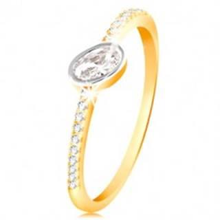 Zlatý prsteň 585 - číry oválny zirkón v objímke z bieleho zlata, zirkónové línie - Veľkosť: 49 mm