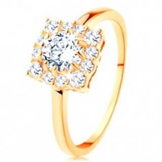 Zlatý prsteň 585 - štvorcový zirkónový obrys, okrúhly číry zirkón v strede - Veľkosť: 49 mm