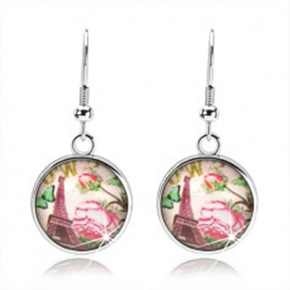 Šperky eshop Cabochon náušnice, kruh s glazúrou, Eiffelova veža, motýlik, ruže s lístkami