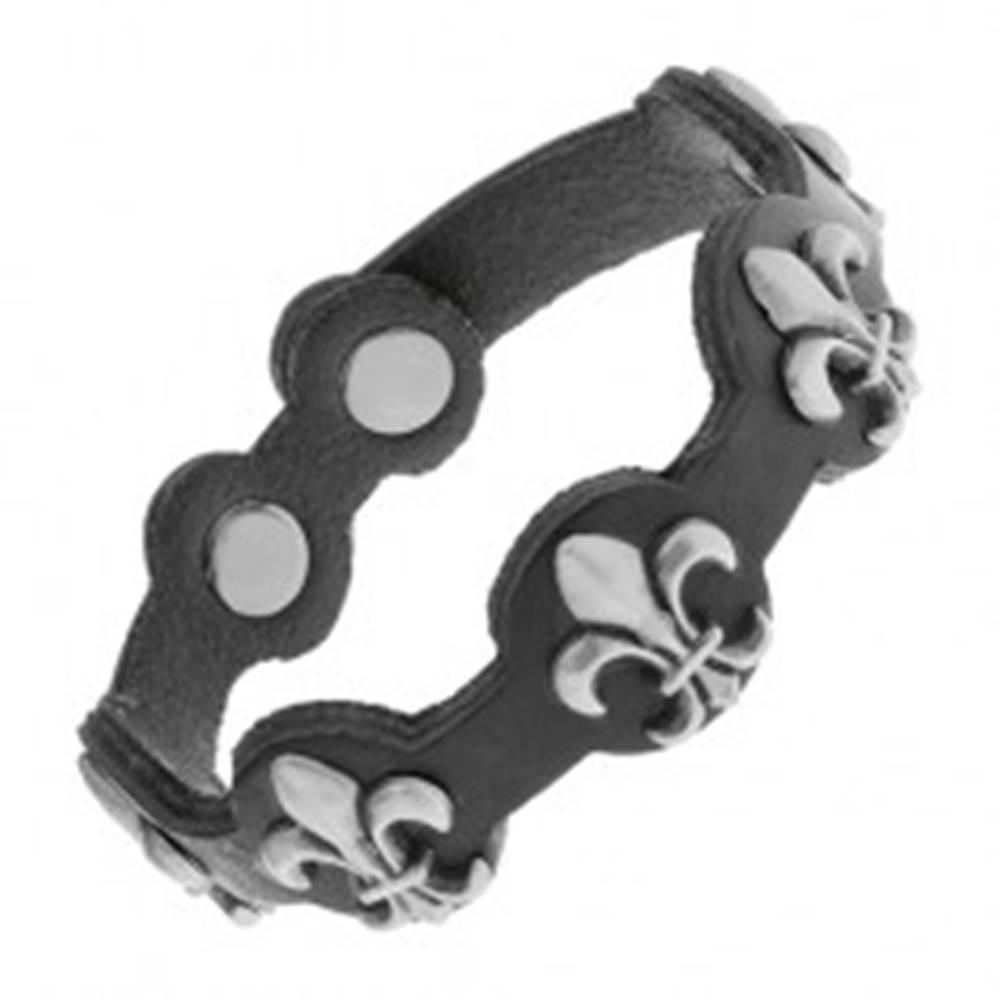 Šperky eshop Čierny náramok zo syntetickej kože, oceľové symboly Fleur de Lis