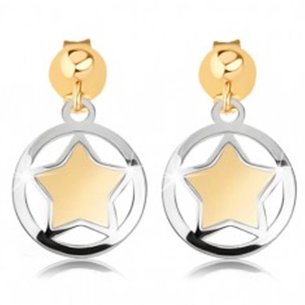 Šperky eshop Dvojfarebné náušnice z 9K zlata - matná hviezdička v lesklom obryse kruhu