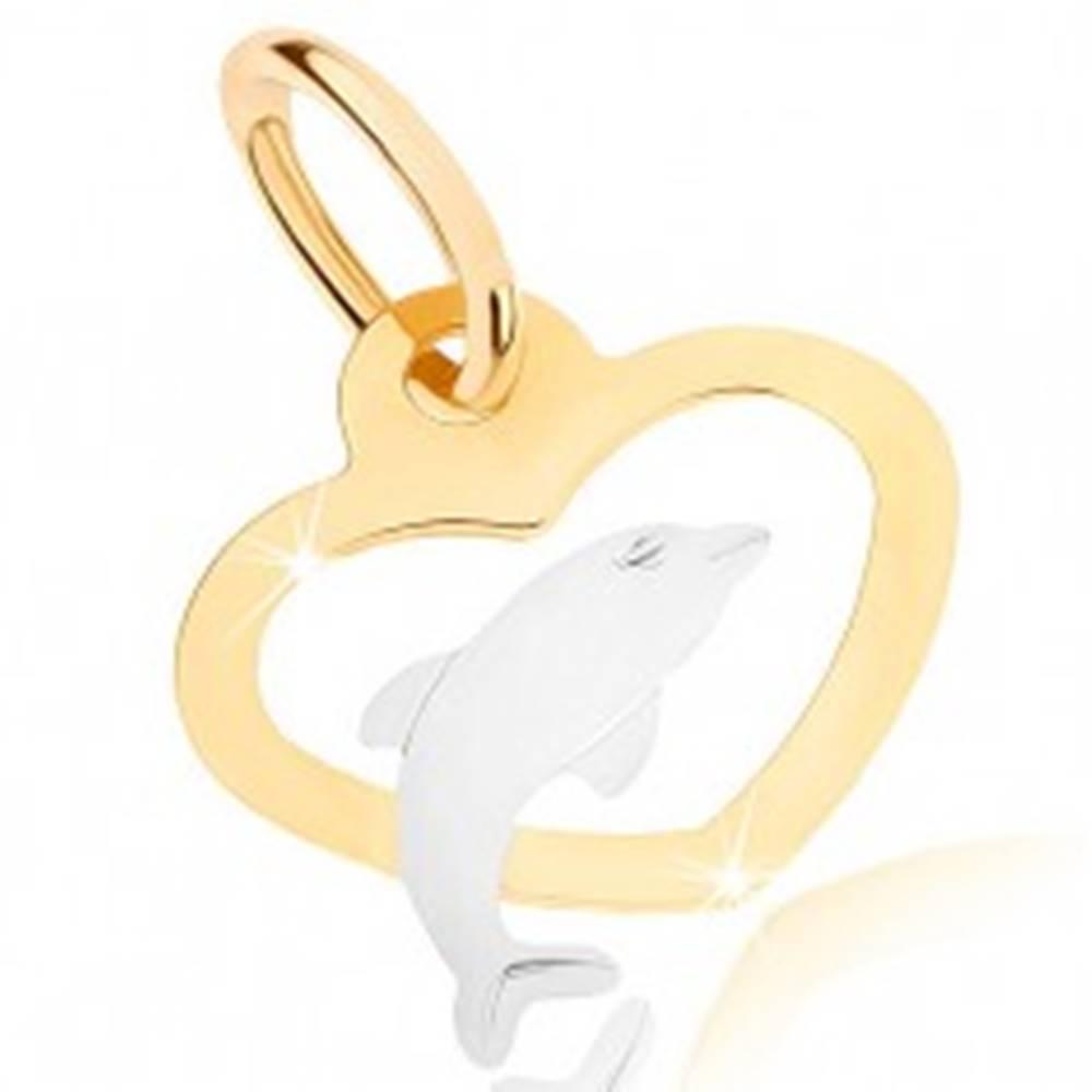 Šperky eshop Dvojfarebný prívesok v 9K zlate - obrys súmerného srdca, delfínik