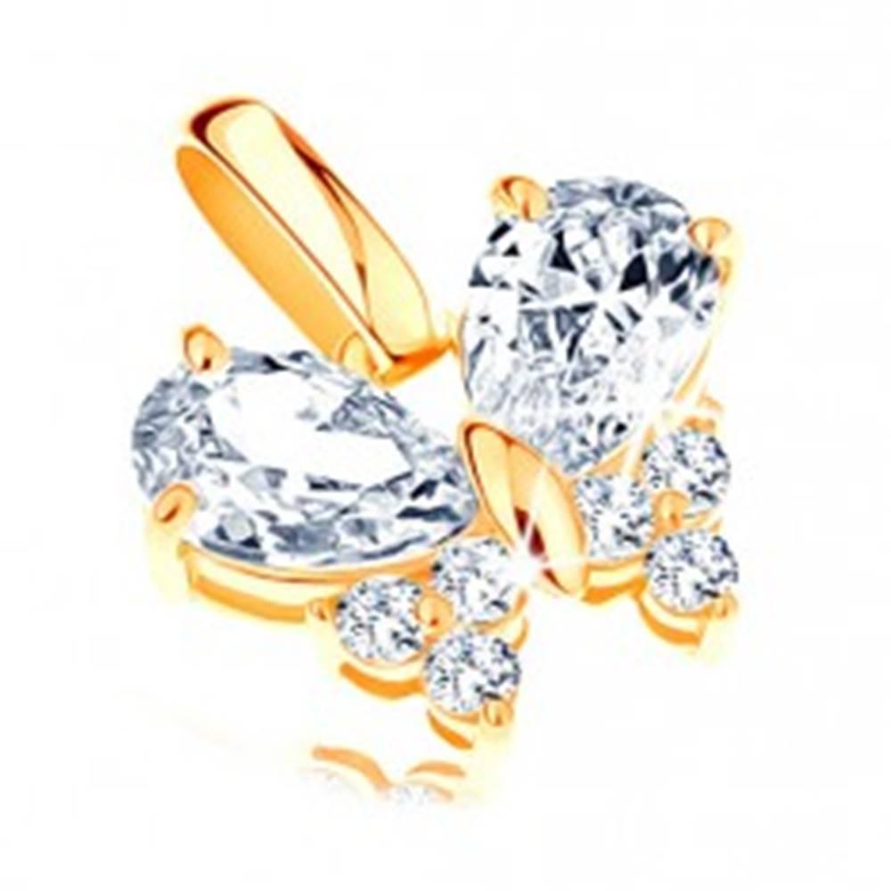 Šperky eshop Ligotavý prívesok zo žltého 14K zlata - zirkónový motýlik čírej farby