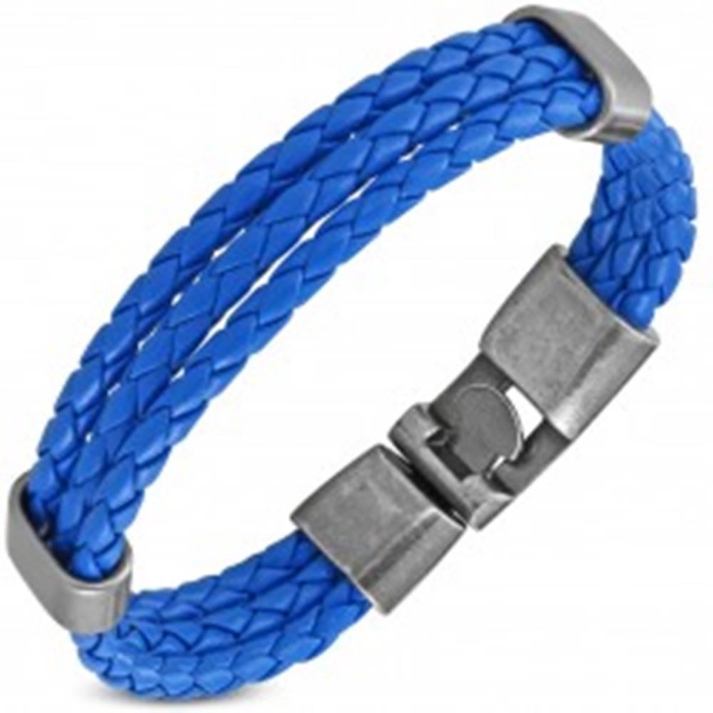 Šperky eshop Modrý náramok, tri úzke zapletené pásiky z umelej kože, pohyblivé ovály