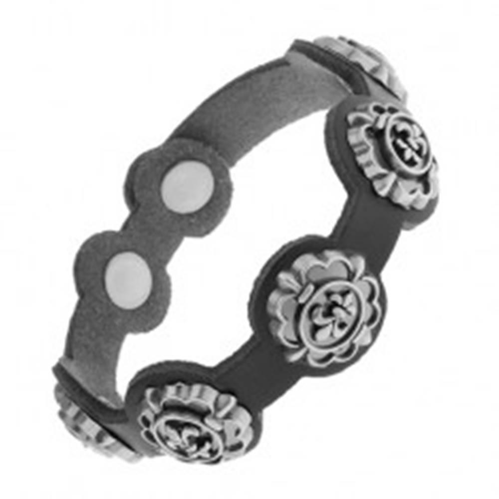 Šperky eshop Náramok z čiernej syntetickej kože, patinované symboly Fleur de Lis