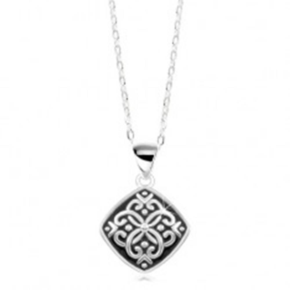 Šperky eshop Nastaviteľný náhrdelník, striebro 925, prívesok s čiernou glazúrou a ornamentmi