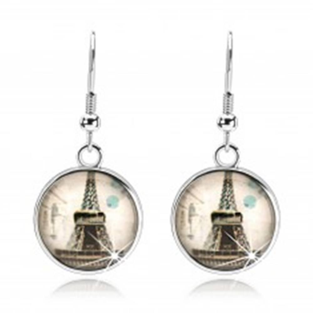 Šperky eshop Náušnice s čírym vypuklým sklom, Eiffelova veža, béžový podklad