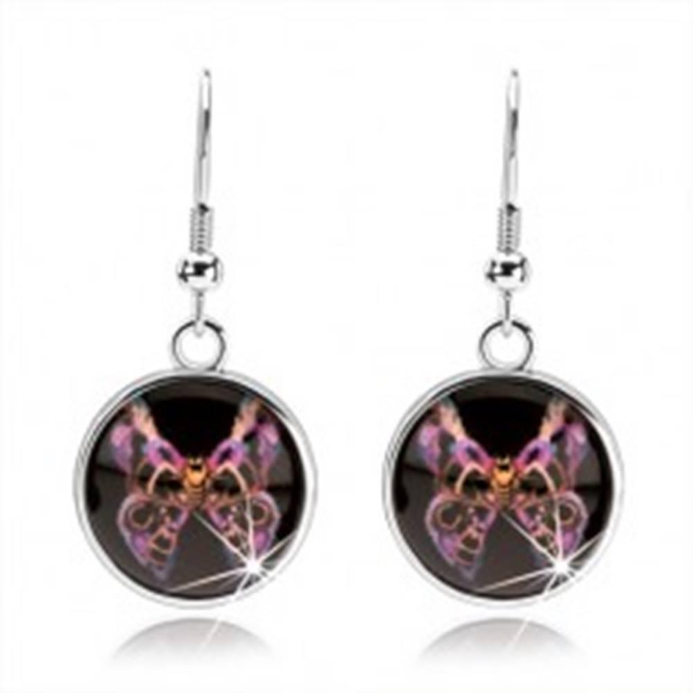 Šperky eshop Náušnice s glazúrou, motýľ s fialovo-čiernymi vzorovanými krídlami, kabošon