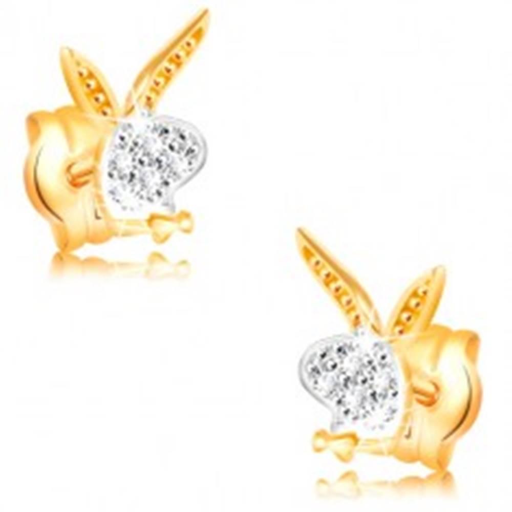 Šperky eshop Náušnice v 14K zlate - hlava zajačika, biele a žlté zlato, zirkóny