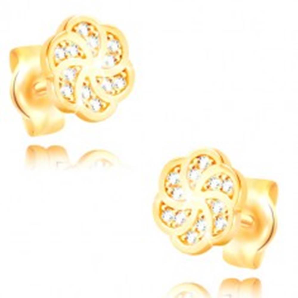 Šperky eshop Náušnice v žltom 14K zlate - kvietok s hladkými obrysmi lupeňov a zirkónmi