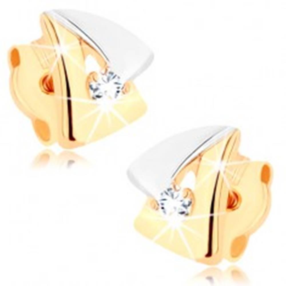 Šperky eshop Náušnice z 9K zlata - dvojfarebný obrys trojuholníčka, číry zirkón