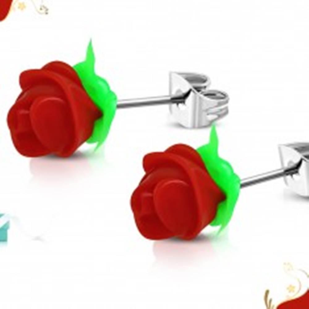 Šperky eshop Náušnice z chirurgickej ocele, červená silikónová ružička, zelené lístky