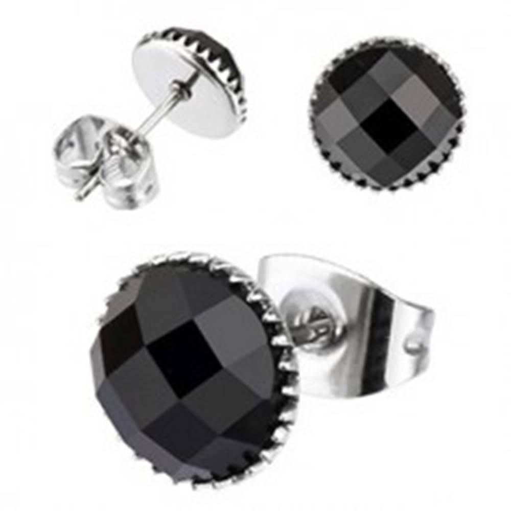 Šperky eshop Náušnice z chirurgickej ocele - ónyxové oko - Priemer: 4 mm