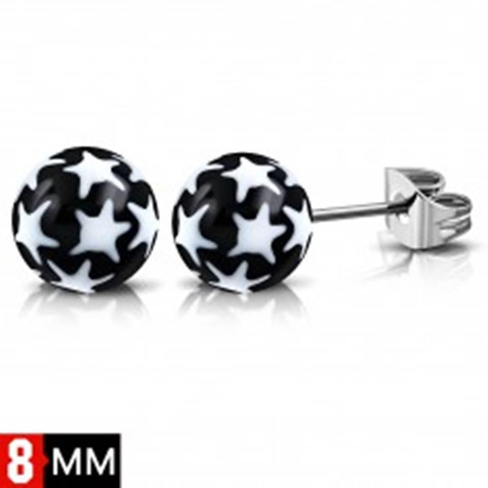 Šperky eshop Náušnice z ocele 316L, čierno-biele guličky s hviezdičkami