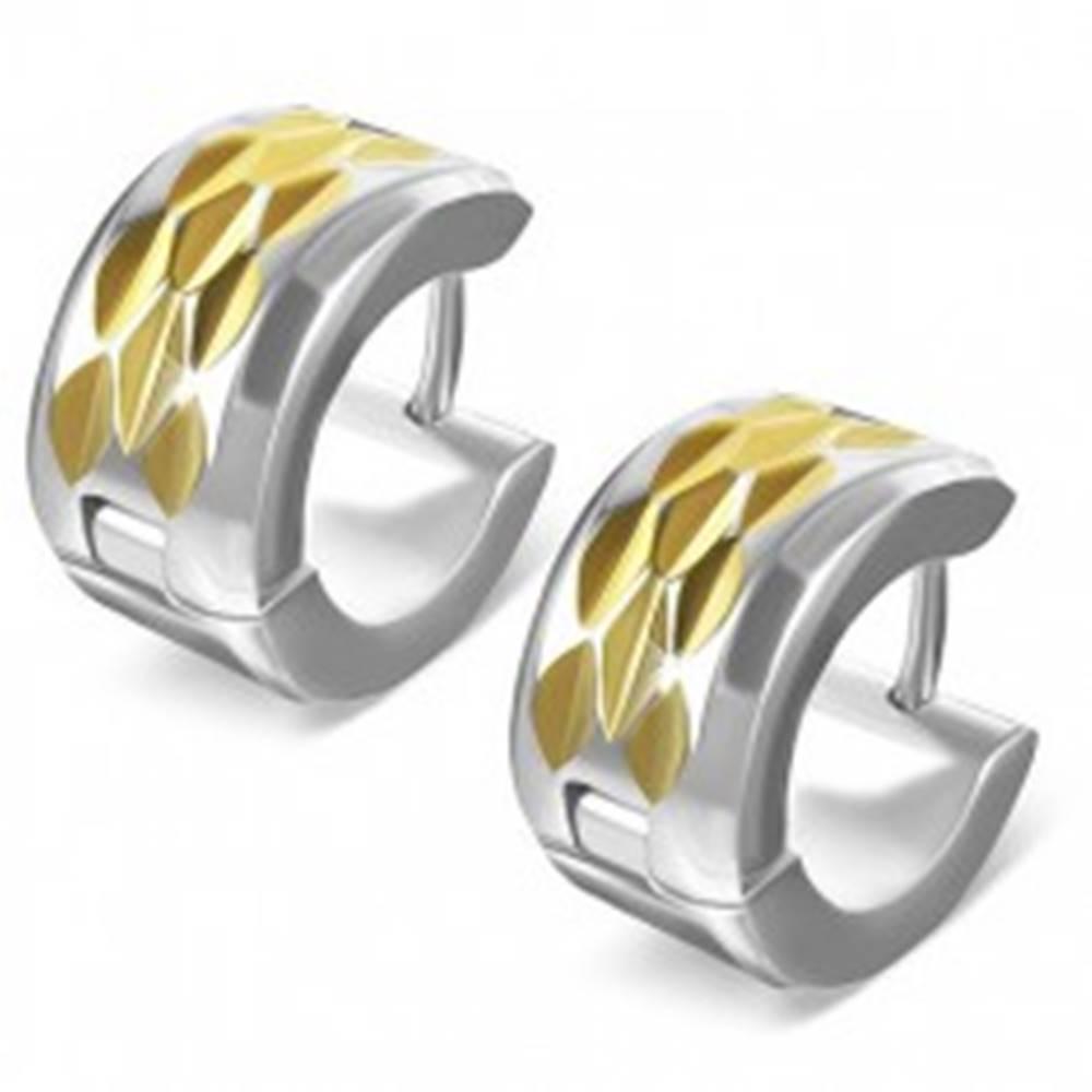 Šperky eshop Náušnice z ocele - kosoštvorcový výbrus na páse zlatej farby