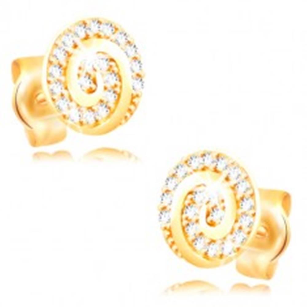 Šperky eshop Náušnice zo žltého 14K zlata - kruh zdobený špirálou a čírymi zirkónmi
