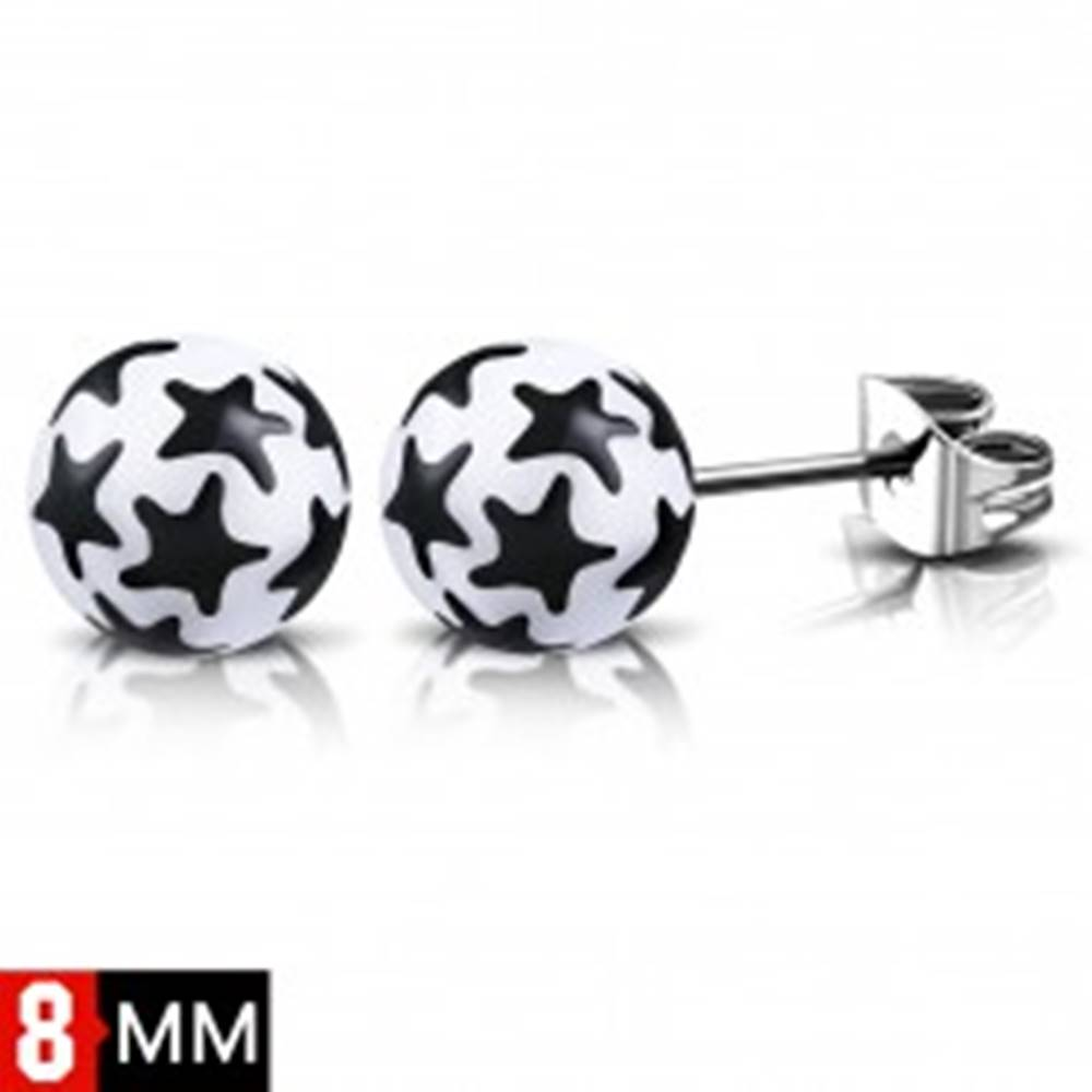 Šperky eshop Oceľové náušnice, biele guličky s čiernymi hviezdami, puzetky