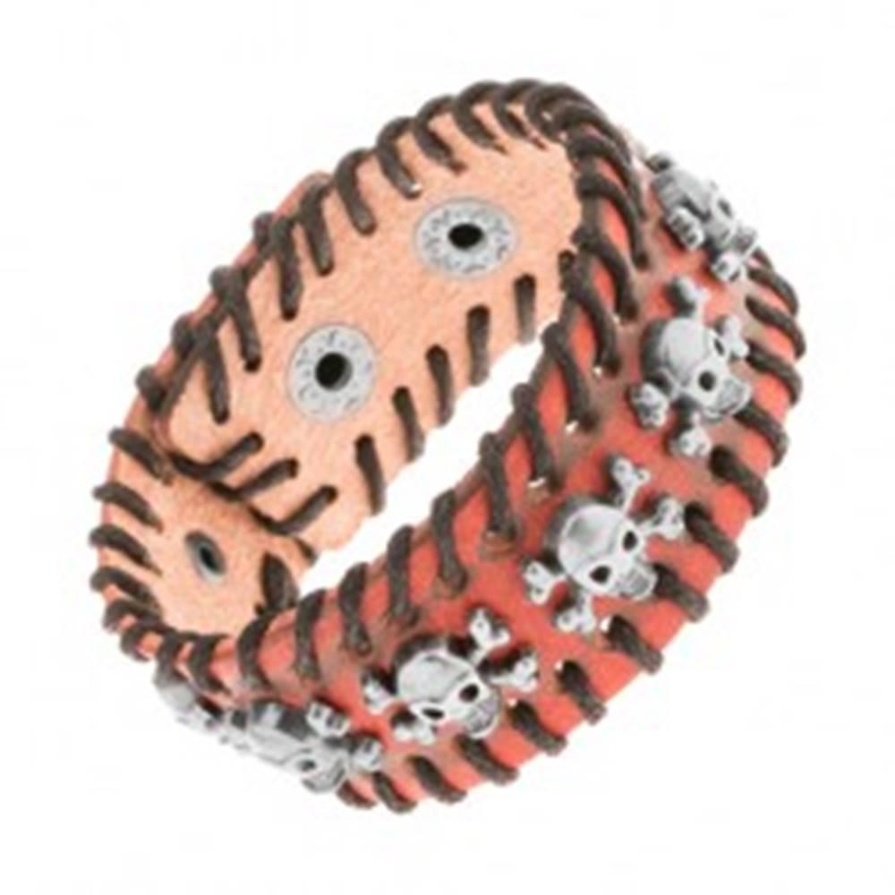 Šperky eshop Oranžovohnedý kožený náramok, čierna prepletená šnúrka, lebky