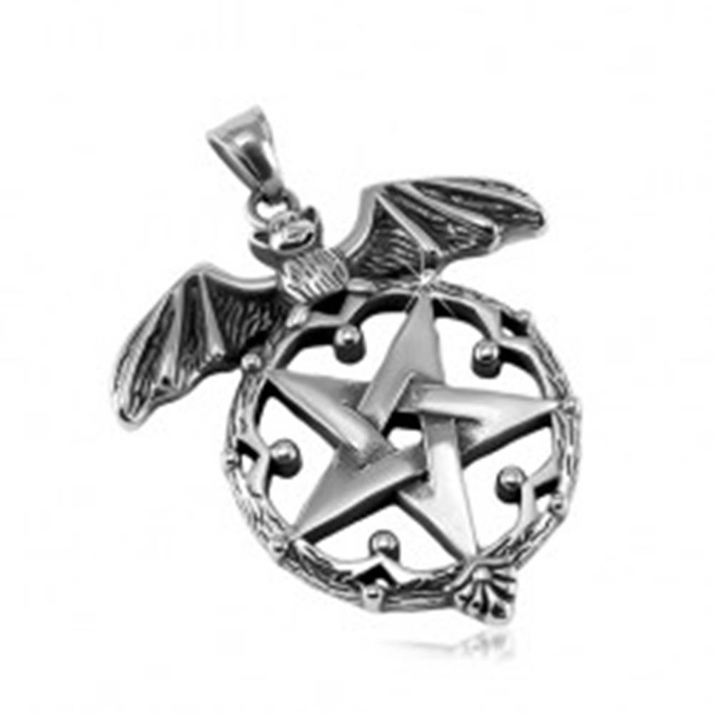 Šperky eshop Patinovaný prívesok, oceľ 316L, netopier a pentagram v ozdobnom kruhu