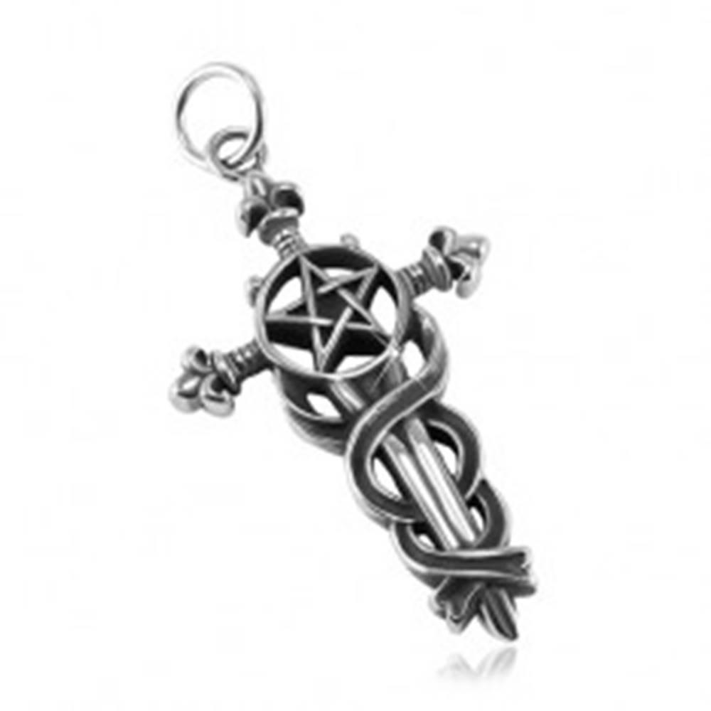 Šperky eshop Patinovaný prívesok, oceľ 316L, veľký ľaliový kríž s hadmi, pentagram