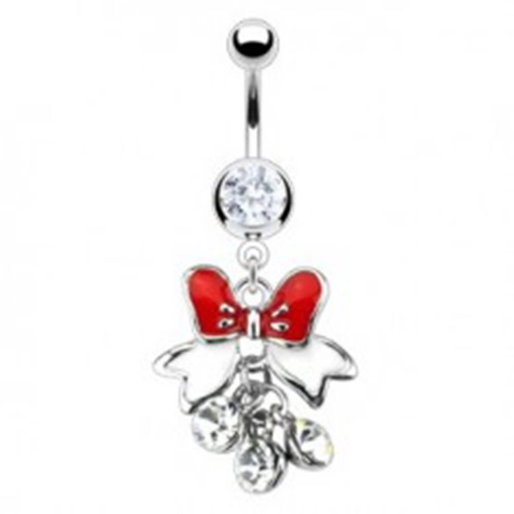 Šperky eshop Piercing do bruška - mašlička s visiacimi zirkónikmi - Farba zirkónu: Číra - C