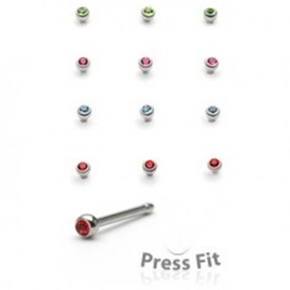 Šperky eshop Piercing do nosa rovný - okrúhly vsadený kamienok - Farba zirkónu: Červená - R