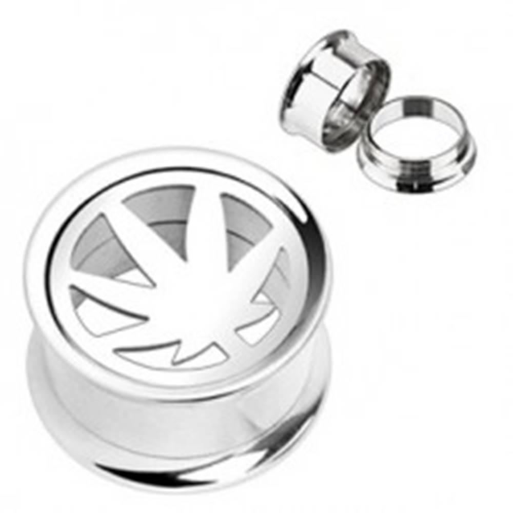 Šperky eshop Plug do ucha - vykrojený list marihuany - Hrúbka: 10 mm