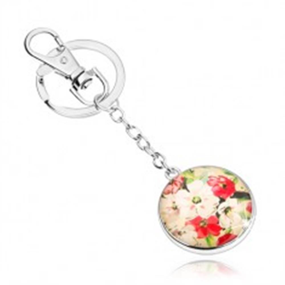 Šperky eshop Prívesok na kľúče v štýle kabošon, vypuklé sklo, biele a červené kvety