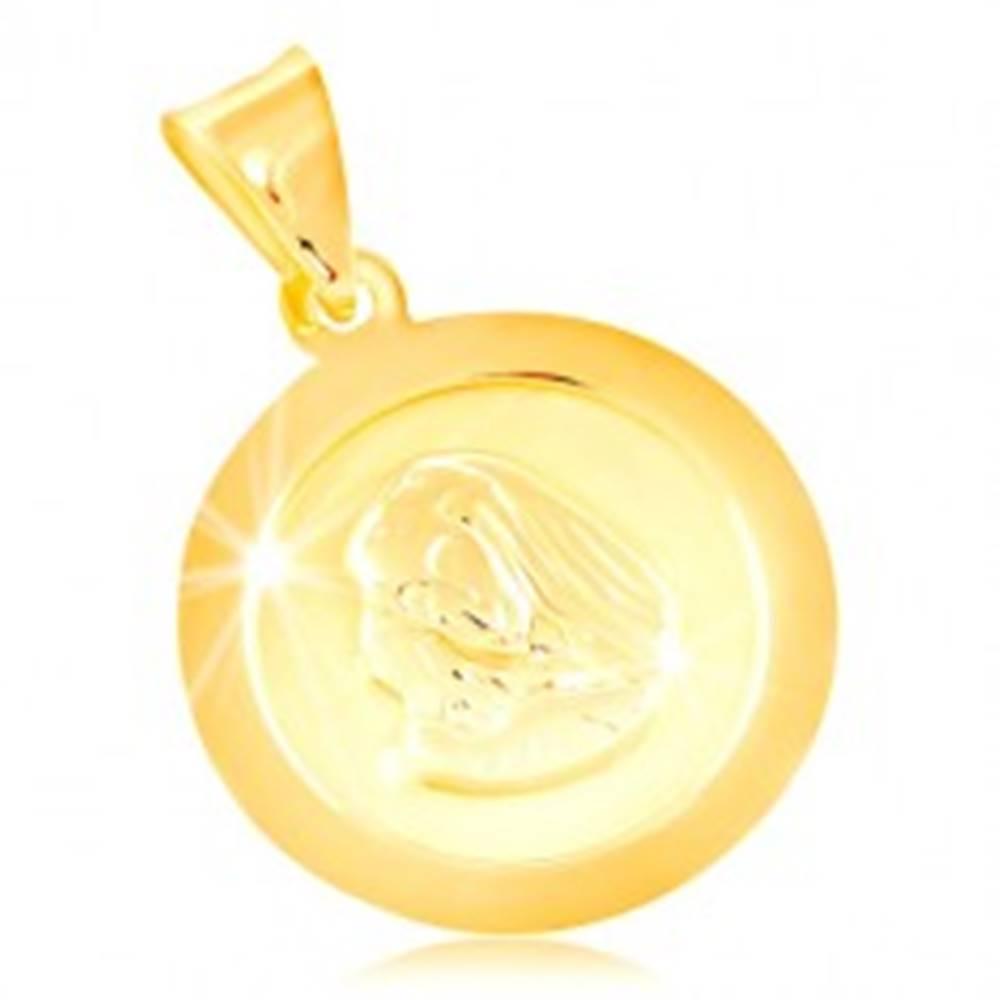 Šperky eshop Prívesok v žltom 14K zlate, okrúhla známka s Pannou Máriou