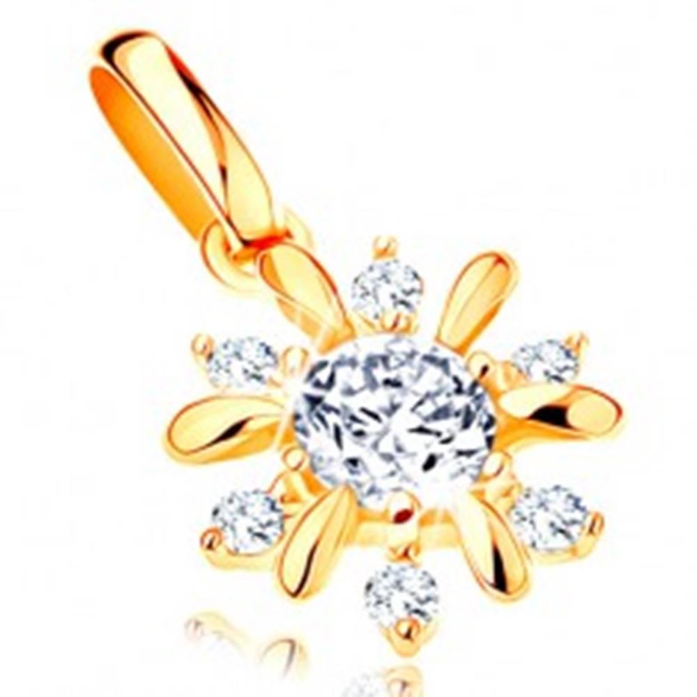Šperky eshop Prívesok v žltom 14K zlate - žiarivý kvietok, hladké a zirkónové lupene