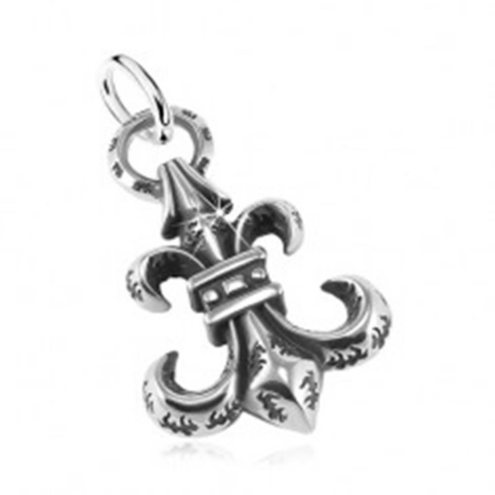 Šperky eshop Prívesok z ocele 316L, veľký patinovaný symbol Fleur de Lis