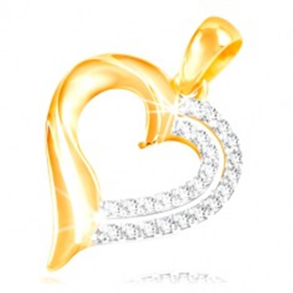 Šperky eshop Prívesok zo 14K zlata - dvojitá kontúra srdiečka zdobená čírymi zirkónmi
