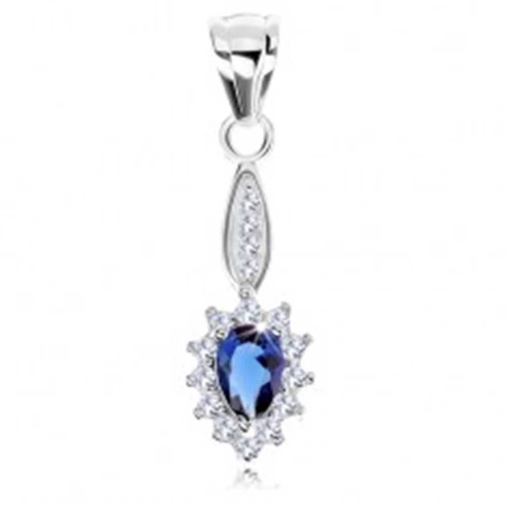 Šperky eshop Prívesok zo striebra 925, úzky ovál, modrá zirkónová slza, trblietavý lem