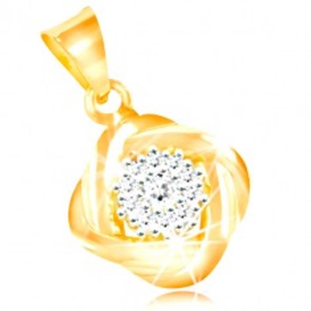 Šperky eshop Prívesok zo zlata 585 - číry zirkónový kvet, štyri prepletené oblúky