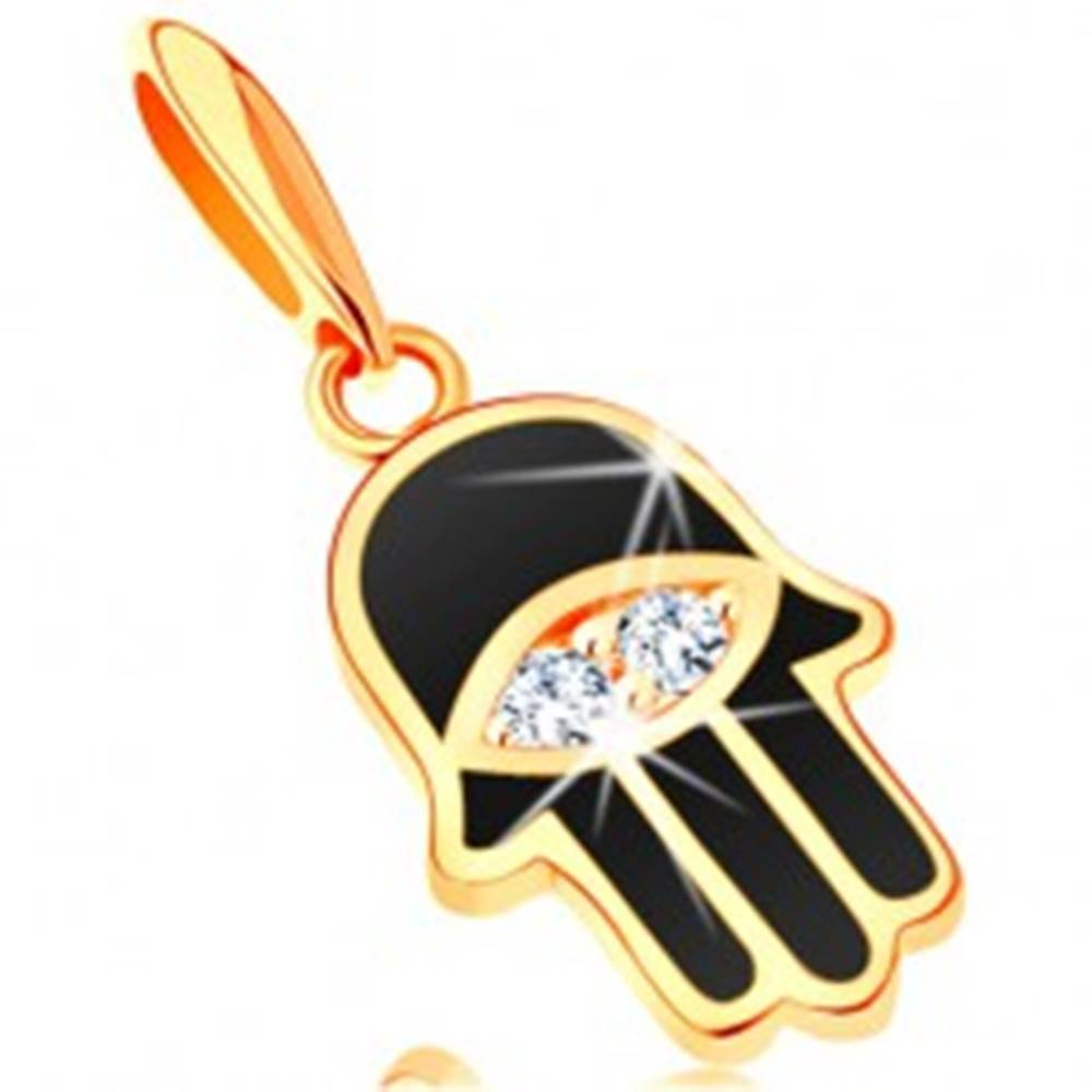 Šperky eshop Prívesok zo žltého 14K zlata - ruka Fatimy pokrytá čiernou glazúrou, oko