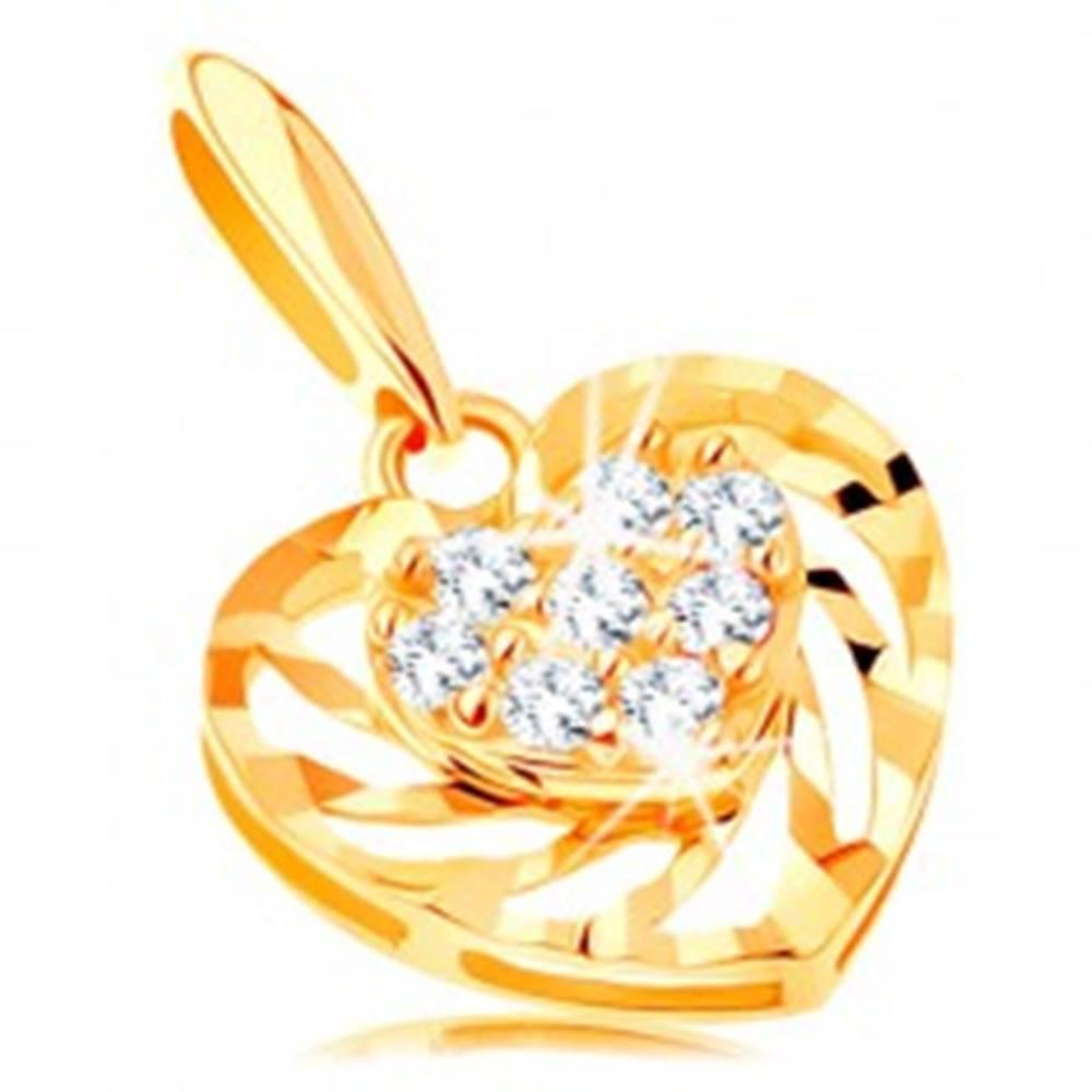 Šperky eshop Prívesok zo žltého 14K zlata - srdiečko so zatočenými líniami a zirkónikmi