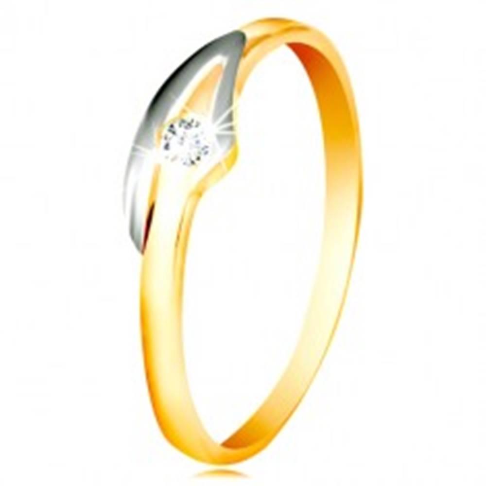 Šperky eshop Prsteň v 14K zlate so zirkónom čírej farby, dvojfarebné ramená - Veľkosť: 48 mm
