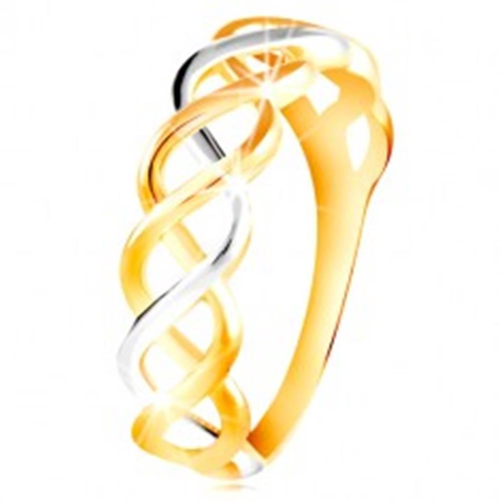 Šperky eshop Prsteň z kombinovaného 14K zlata - prepletené dvojfarebné línie - Veľkosť: 48 mm