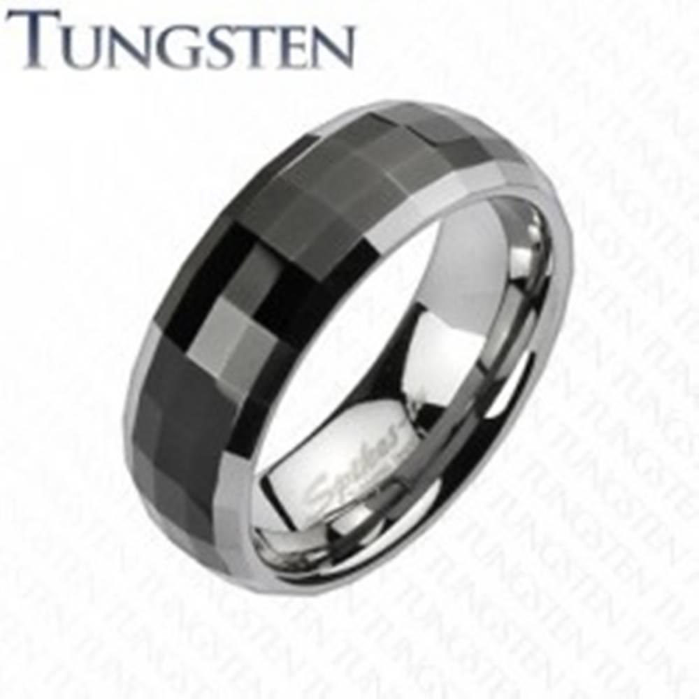 Šperky eshop Prsteň z wolfrámu v disco štýle - čierny stred, okraje striebornej farby - Veľkosť: 49 mm
