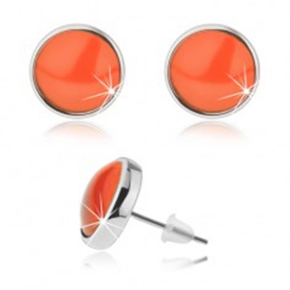Šperky eshop Puzetové náušnice kabošon, priehľadné vypuklé sklo, oranžová farba
