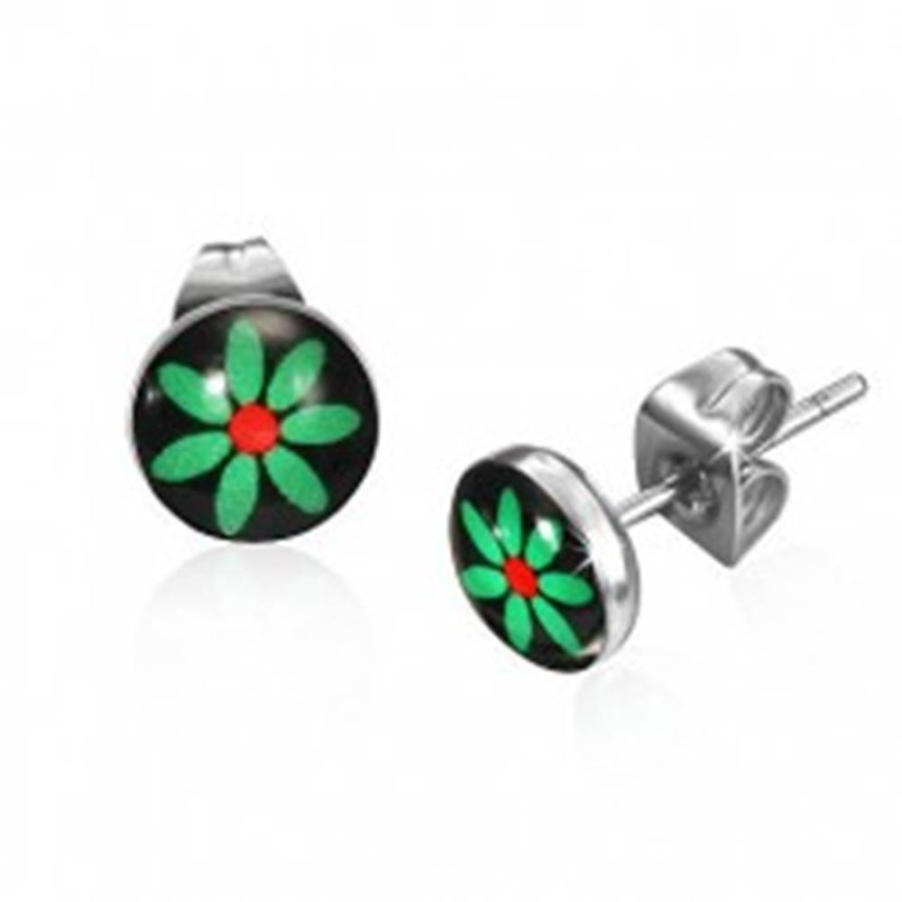 Šperky eshop Puzetové náušnice so zeleným kvetom