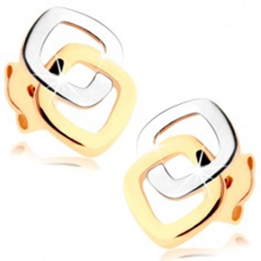 Šperky eshop Puzetové náušnice v 9K zlate - dvojfarebné zaoblené kontúry štvorcov