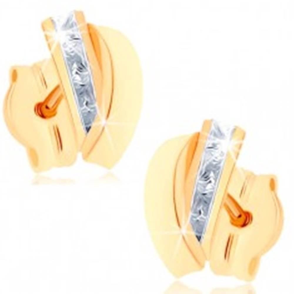 Šperky eshop Puzetové náušnice zo žltého 9K zlata - pásik čírych zirkónov, lesklý oblúk