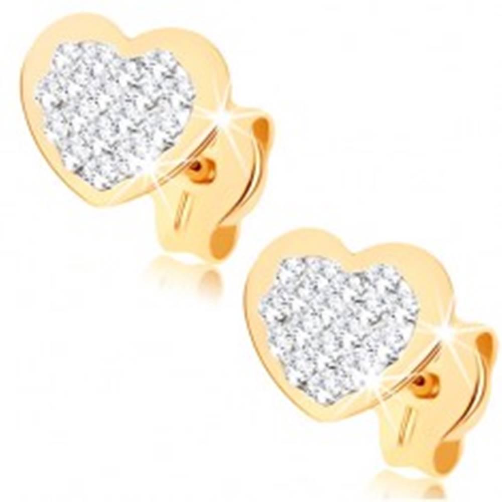 Šperky eshop Puzetové náušnice zo žltého 9K zlata - srdiečko vykladané Swarovského krištáľmi
