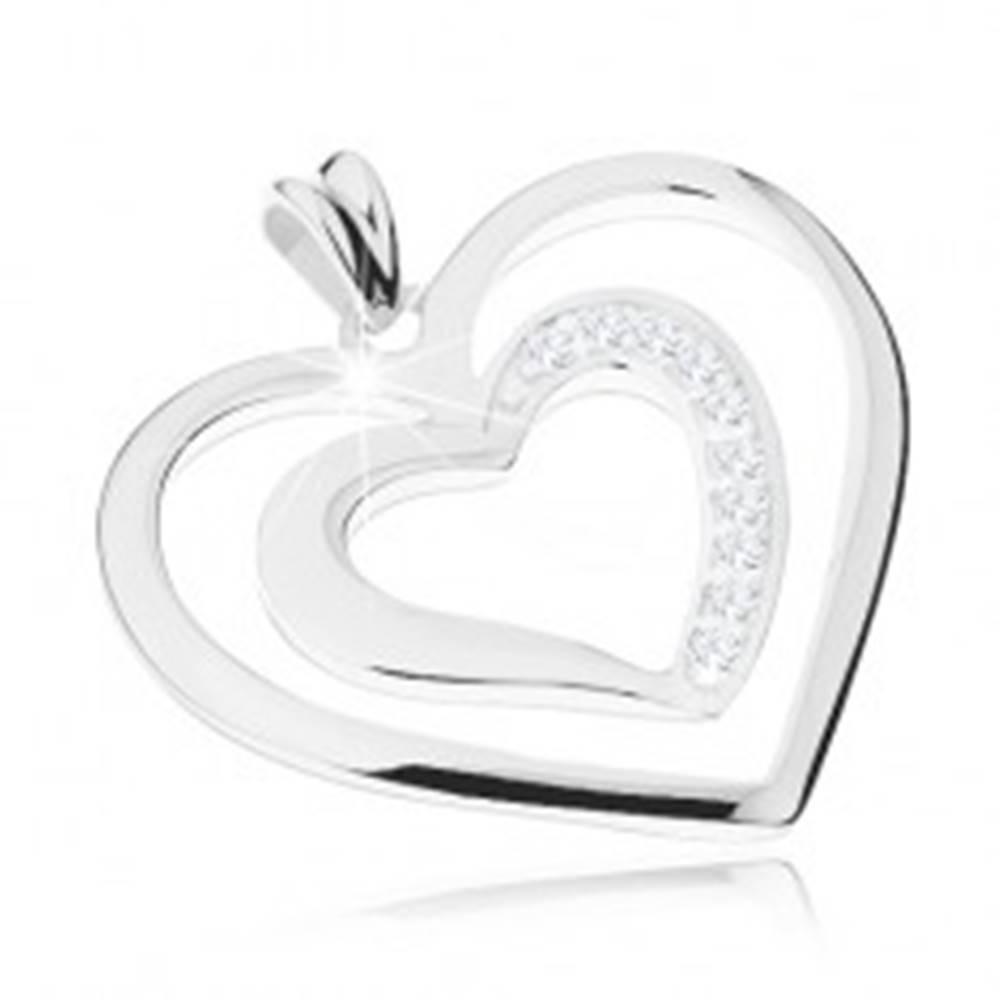 Šperky eshop Ródiovaný prívesok zo striebra 925, dva srdcové obrysy, číre zirkóniky