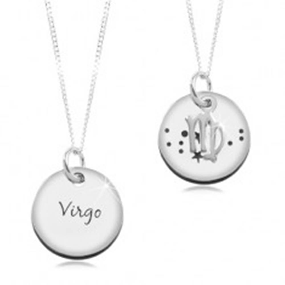 Šperky eshop Strieborný 925 náhrdelník, retiazka a okrúhly prívesok - PANNA