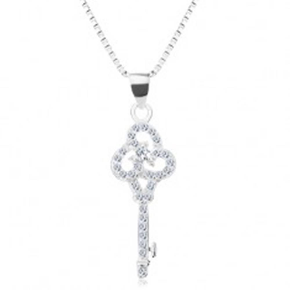 Šperky eshop Strieborný 925 náhrdelník, retiazka s príveskom, číry ligotavý kľúčik, zirkóny