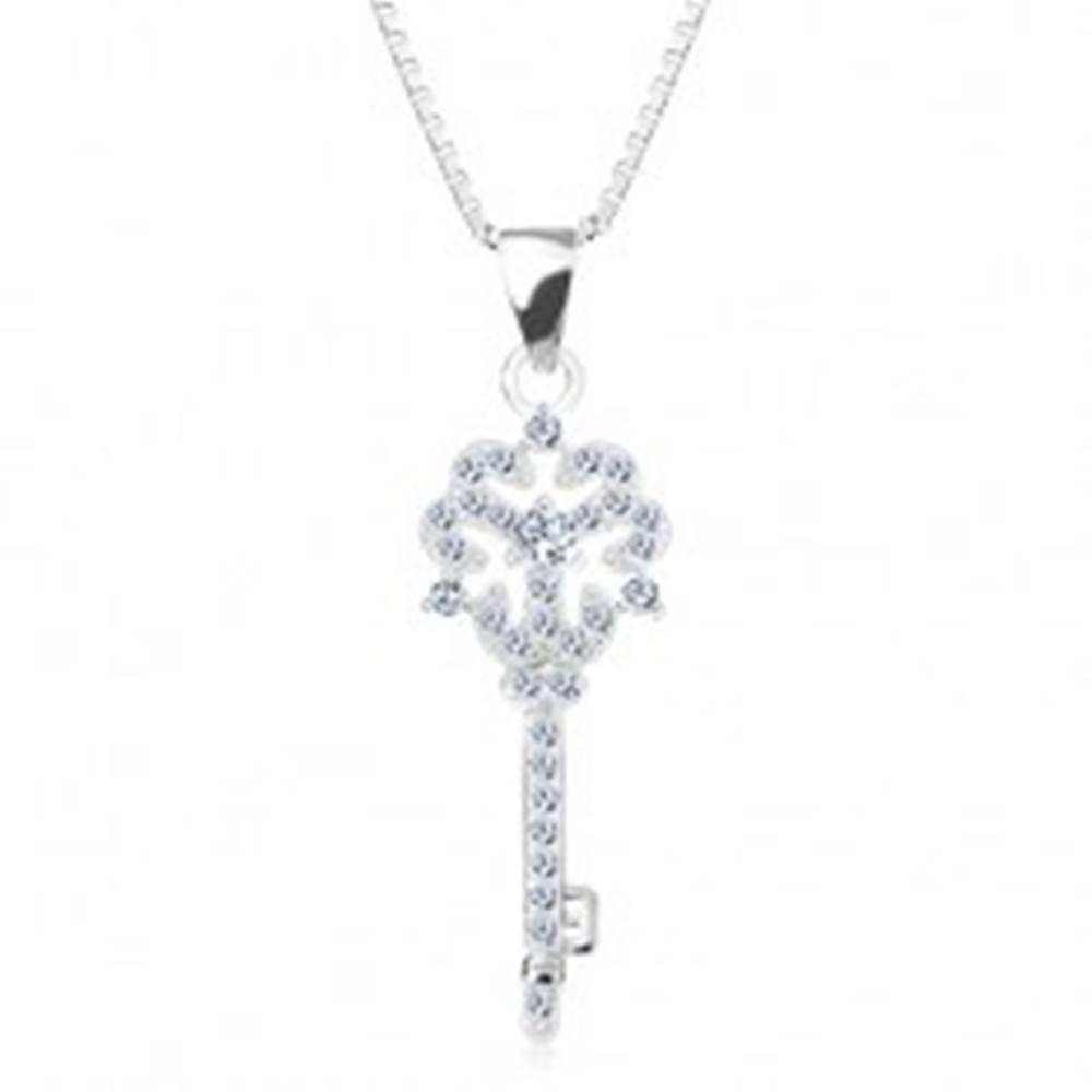 Šperky eshop Strieborný 925 náhrdelník, retiazka s príveskom, kľúčik s kvietkom, číre zirkóny